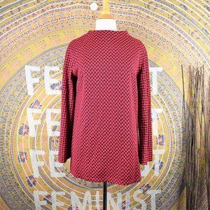 Vintage Red Check Print Flare Sleeve Knit Tunic